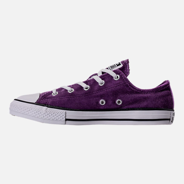 Left view of Girls' Grade School Converse Chuck Taylor Ox Velvet Casual Shoes in Night Purple/White/White