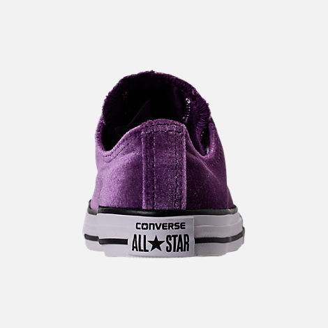Back view of Girls' Grade School Converse Chuck Taylor Ox Velvet Casual Shoes in Night Purple/White/White