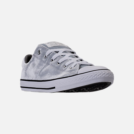 Three Quarter view of Girls' Grade School Converse Chuck Taylor Madison Ox Velvet Casual Shoes in Wolf Grey/Mason/White