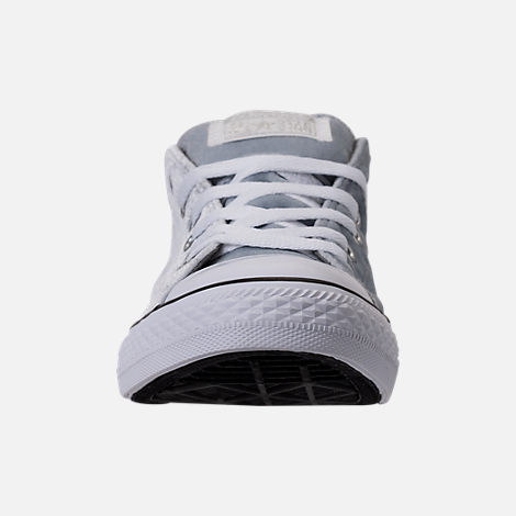 Front view of Girls' Grade School Converse Chuck Taylor Madison Ox Velvet Casual Shoes in Wolf Grey/Mason/White