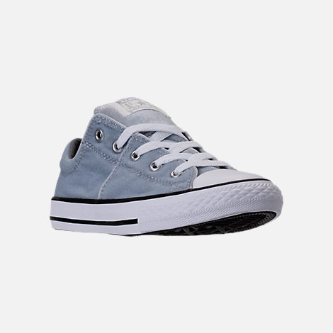 Three Quarter view of Girls' Preschool Converse Chuck Taylor Madison Ox Velvet Casual Shoes in Wolf Grey/Mason/White