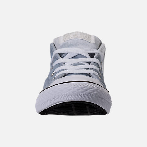 Front view of Girls' Preschool Converse Chuck Taylor Madison Ox Velvet Casual Shoes in Wolf Grey/Mason/White