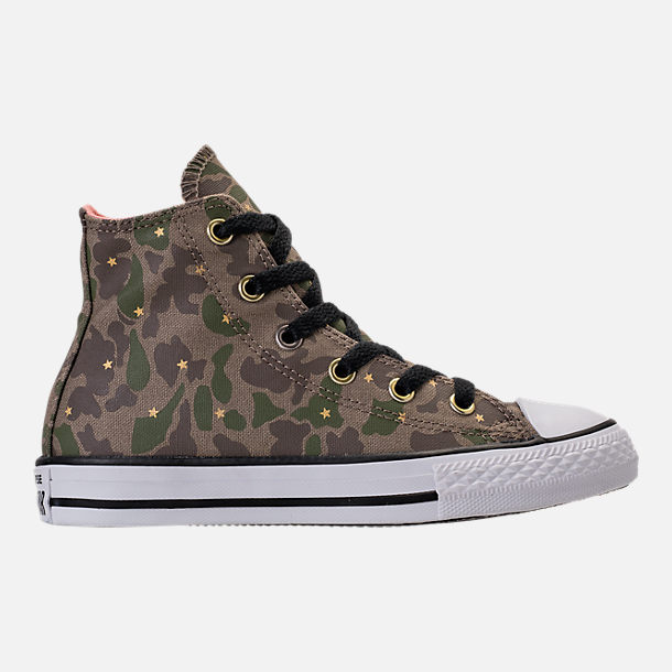 Right view of Girls' Preschool Converse Chuck Taylor All Star Hi Casual Shoes in Camo Stars/Olive Khaki/Pink