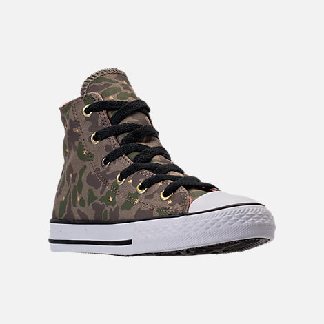 Three Quarter view of Girls' Preschool Converse Chuck Taylor All Star Hi Casual Shoes in Camo Stars/Olive Khaki/Pink