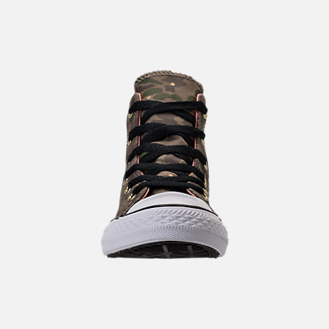 Front view of Girls' Preschool Converse Chuck Taylor All Star Hi Casual Shoes in Camo Stars/Olive Khaki/Pink