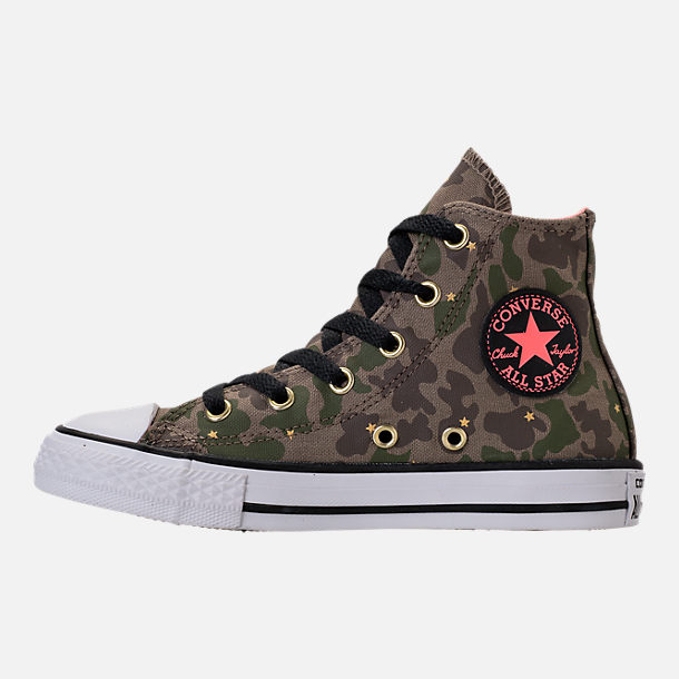 Left view of Girls' Preschool Converse Chuck Taylor All Star Hi Casual Shoes in Camo Stars/Olive Khaki/Pink