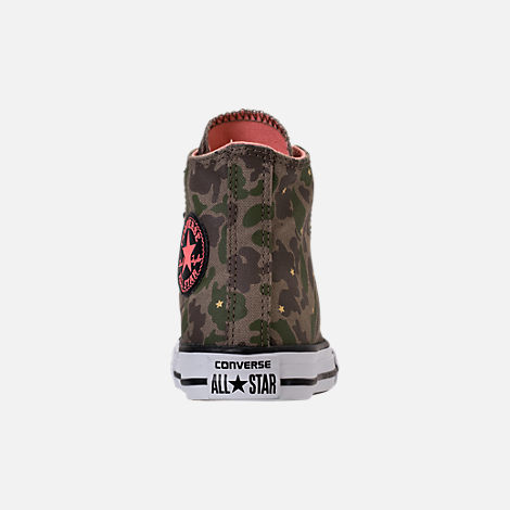 Back view of Girls' Preschool Converse Chuck Taylor All Star Hi Casual Shoes in Camo Stars/Olive Khaki/Pink