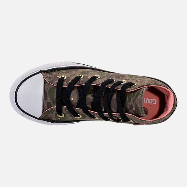 Top view of Girls' Preschool Converse Chuck Taylor All Star Hi Casual Shoes in Camo Stars/Olive Khaki/Pink