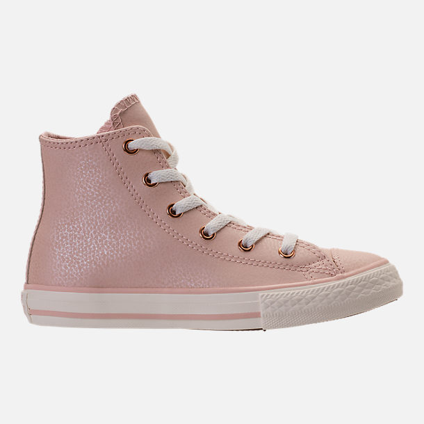 Right view of Girls' Preschool Converse Chuck Taylor High Top Leather Casual Shoes in Beige/Egrid/Rose Gold