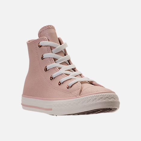 Three Quarter view of Girls' Preschool Converse Chuck Taylor High Top Leather Casual Shoes in Beige/Egrid/Rose Gold