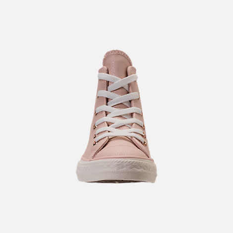 Front view of Girls' Preschool Converse Chuck Taylor High Top Leather Casual Shoes in Beige/Egrid/Rose Gold