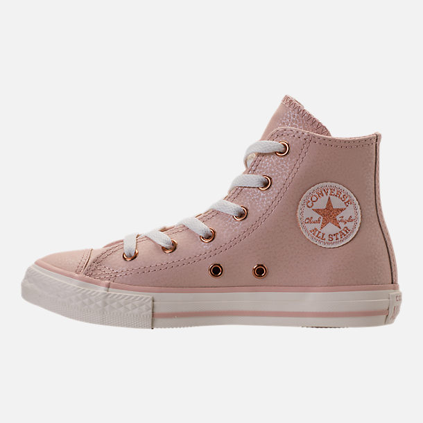 Left view of Girls' Preschool Converse Chuck Taylor High Top Leather Casual Shoes in Beige/Egrid/Rose Gold