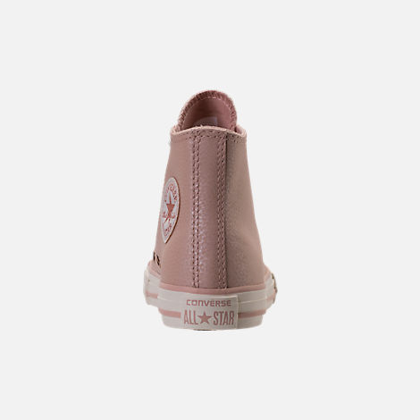 Back view of Girls' Preschool Converse Chuck Taylor High Top Leather Casual Shoes in Beige/Egrid/Rose Gold