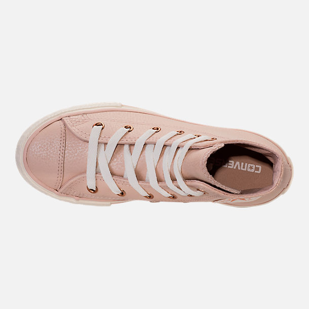 Top view of Girls' Preschool Converse Chuck Taylor High Top Leather Casual Shoes in Beige/Egrid/Rose Gold