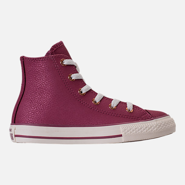 Right view of Girls' Grade School Converse Chuck Taylor High Top Leather Casual Shoes in Vintage Wine/Egret/Rose Gold