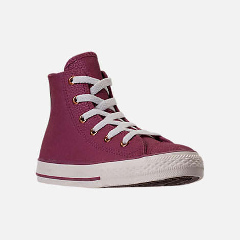 Three Quarter view of Girls' Grade School Converse Chuck Taylor High Top Leather Casual Shoes in Vintage Wine/Egret/Rose Gold