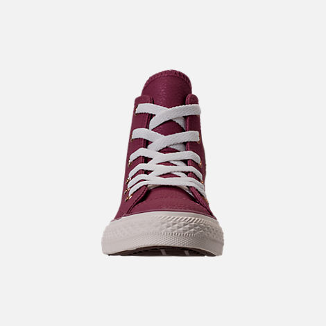 Front view of Girls' Grade School Converse Chuck Taylor High Top Leather Casual Shoes in Vintage Wine/Egret/Rose Gold