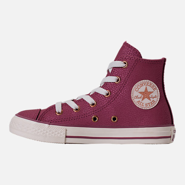 Left view of Girls' Grade School Converse Chuck Taylor High Top Leather Casual Shoes in Vintage Wine/Egret/Rose Gold