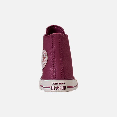 Back view of Girls' Grade School Converse Chuck Taylor High Top Leather Casual Shoes in Vintage Wine/Egret/Rose Gold