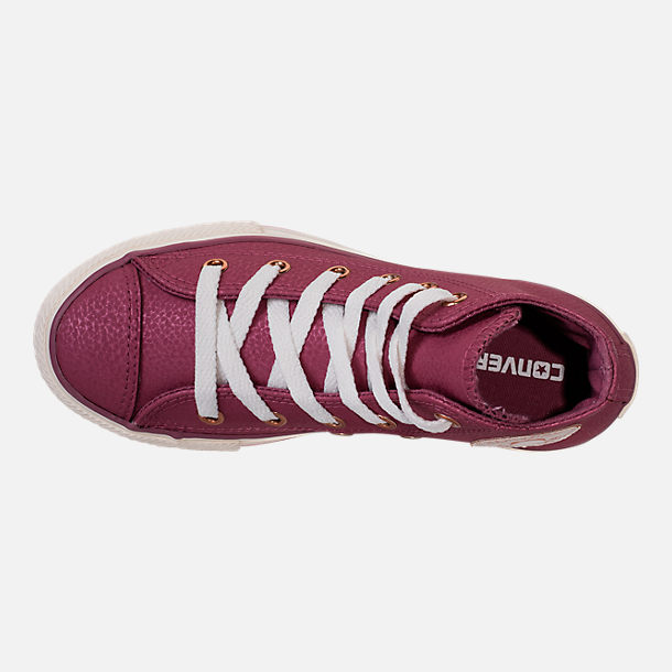 Top view of Girls' Grade School Converse Chuck Taylor High Top Leather Casual Shoes in Vintage Wine/Egret/Rose Gold