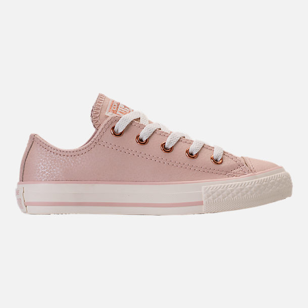 Right view of Girls' Grade School Converse Chuck Taylor Ox Leather Casual Shoes in Particle Beige/Egret/Rose