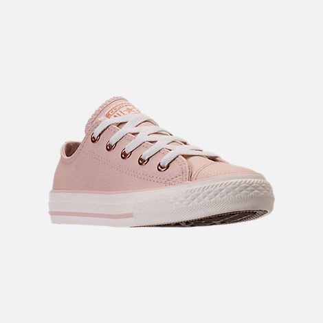 Three Quarter view of Girls' Grade School Converse Chuck Taylor Ox Leather Casual Shoes in Particle Beige/Egret/Rose