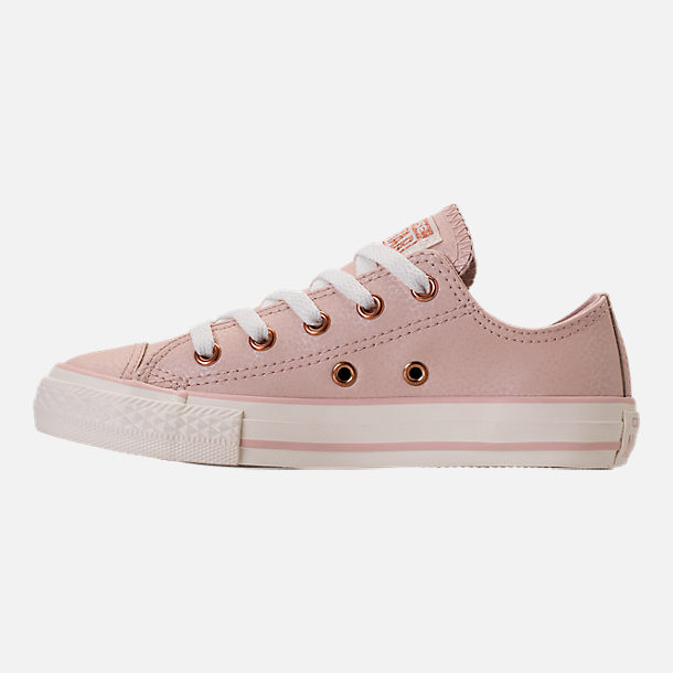 Left view of Girls' Grade School Converse Chuck Taylor Ox Leather Casual Shoes in Particle Beige/Egret/Rose