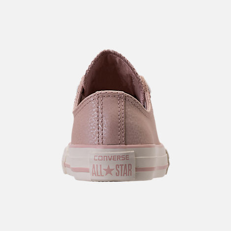 Back view of Girls' Grade School Converse Chuck Taylor Ox Leather Casual Shoes in Particle Beige/Egret/Rose