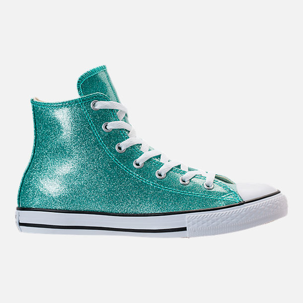 Right view of Girls' Grade School Converse Chuck Taylor High Top Casual Shoes in Blue Glitter