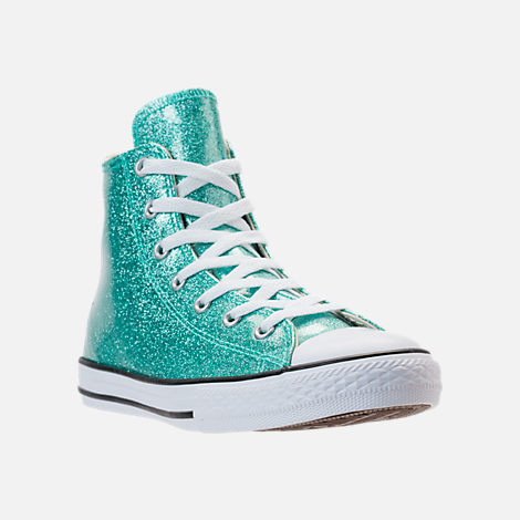 Three Quarter view of Girls' Grade School Converse Chuck Taylor High Top Casual Shoes in Blue Glitter