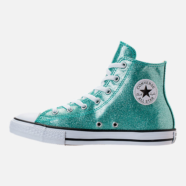 Left view of Girls' Grade School Converse Chuck Taylor High Top Casual Shoes in Blue Glitter