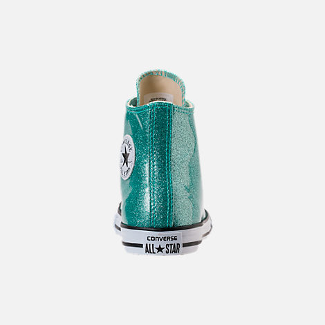 Back view of Girls' Grade School Converse Chuck Taylor High Top Casual Shoes in Blue Glitter