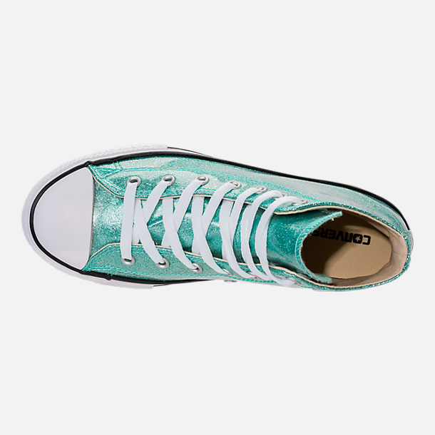 Top view of Girls' Grade School Converse Chuck Taylor High Top Casual Shoes in Blue Glitter