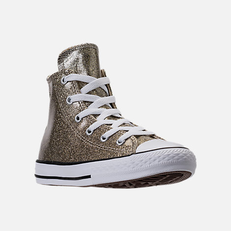 Three Quarter view of Girls' Preschool Converse Chuck Taylor High Top Glitter Casual Shoes in Gold Glitter