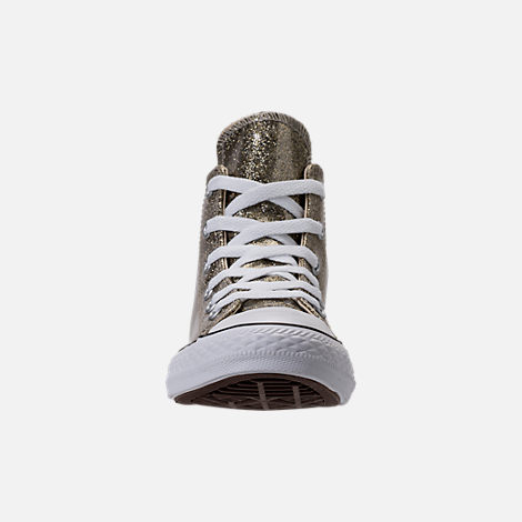 Front view of Girls' Preschool Converse Chuck Taylor High Top Glitter Casual Shoes in Gold Glitter