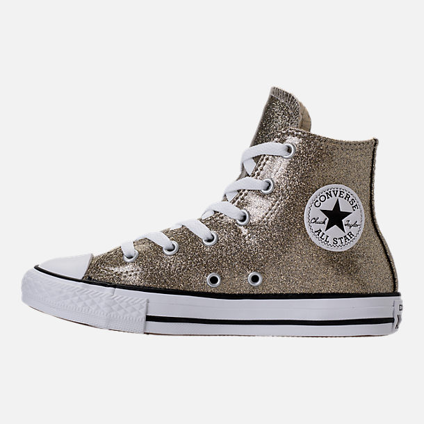 Left view of Girls' Preschool Converse Chuck Taylor High Top Glitter Casual Shoes in Gold Glitter