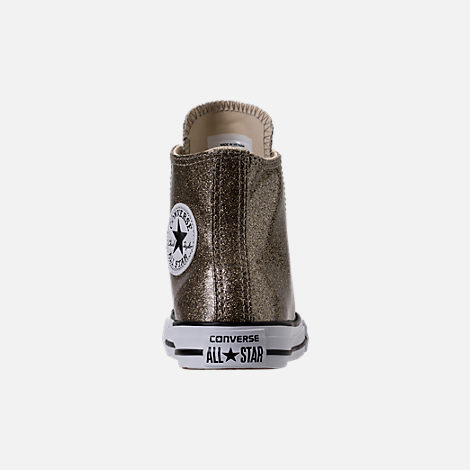 Back view of Girls' Preschool Converse Chuck Taylor High Top Glitter Casual Shoes in Gold Glitter
