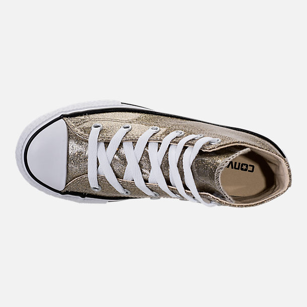 Top view of Girls' Preschool Converse Chuck Taylor High Top Glitter Casual Shoes in Gold Glitter