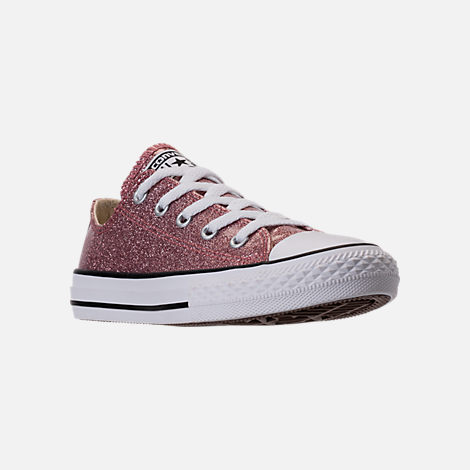 Three Quarter view of Girls' Preschool Converse Chuck Taylor Ox Glitter Casual Shoes in Rose Gold/Natural/White