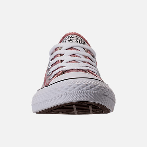 Front view of Girls' Preschool Converse Chuck Taylor Ox Glitter Casual Shoes in Rose Gold/Natural/White