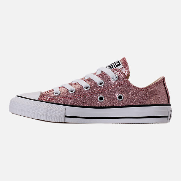 Left view of Girls' Preschool Converse Chuck Taylor Ox Glitter Casual Shoes in Rose Gold/Natural/White