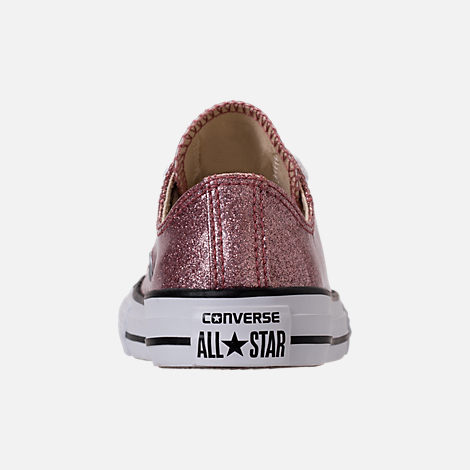 Back view of Girls' Preschool Converse Chuck Taylor Ox Glitter Casual Shoes in Rose Gold/Natural/White