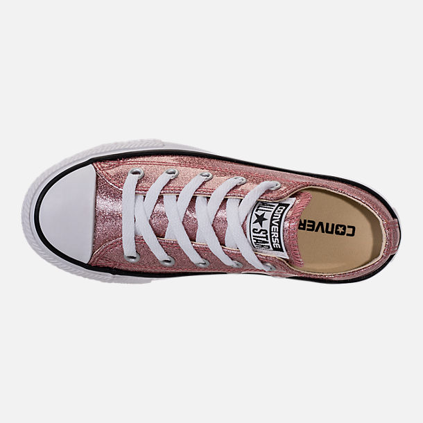 Top view of Girls' Preschool Converse Chuck Taylor Ox Glitter Casual Shoes in Rose Gold/Natural/White