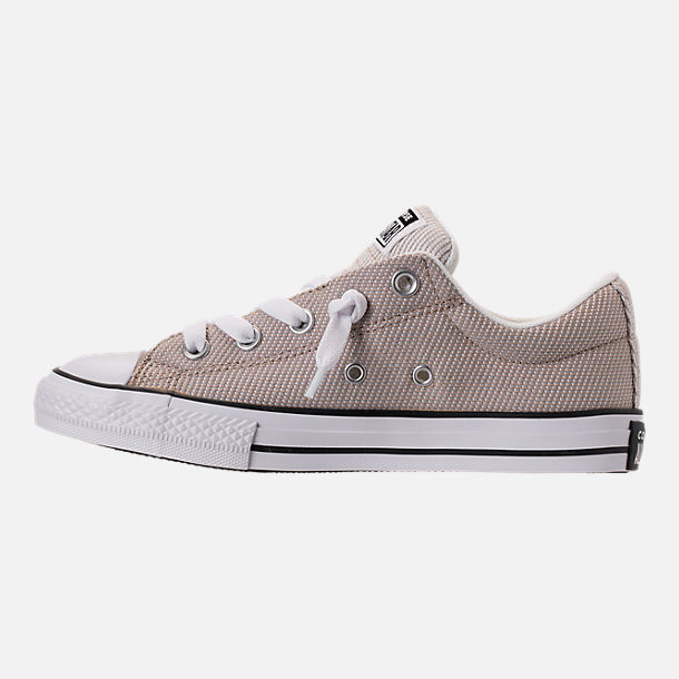 Left view of Boys' Big Kids' Converse Chuck Taylor All-Star Street Slip-On Casual Shoes in Vintage Khaki/Dolphin/White