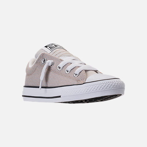 Three Quarter view of Boys' Preschool Converse Chuck Taylor High Street Ox Casual Shoes in Vintage Khaki/Dolphin/White