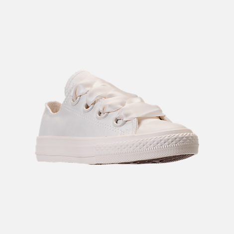 Three Quarter view of Girls' Grade School Converse Chuck Taylor All Star Big Eyelets Ox Casual Shoes in Egret Mono