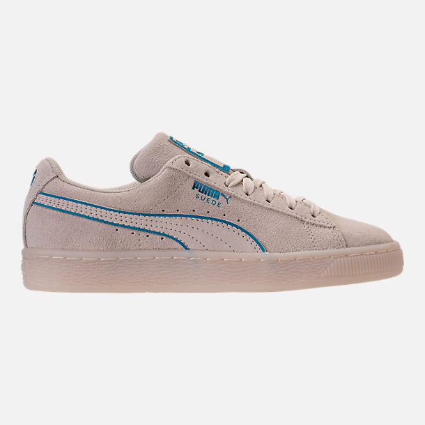 Right view of Boys' Grade School Puma Suede Foil FS Casual Shoes in Natural/Blue