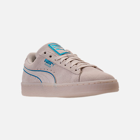 Three Quarter view of Boys' Grade School Puma Suede Foil FS Casual Shoes in Natural/Blue
