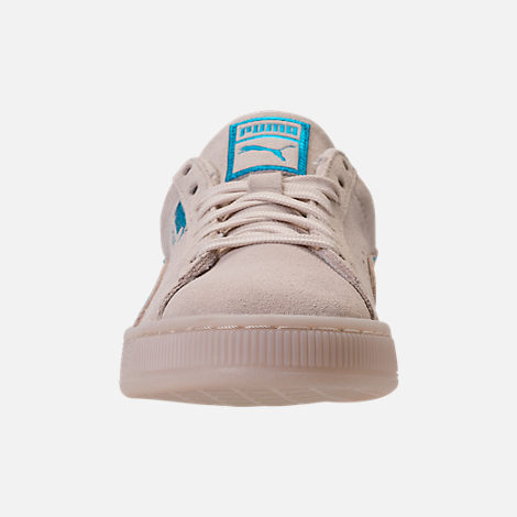 Front view of Boys' Grade School Puma Suede Foil FS Casual Shoes in Natural/Blue
