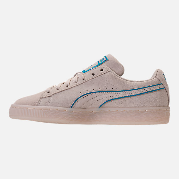 Left view of Boys' Grade School Puma Suede Foil FS Casual Shoes in Natural/Blue